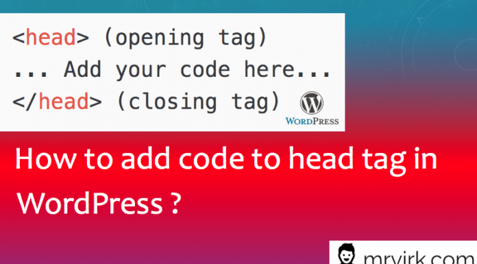 How to add code to head tag in wordpress ?