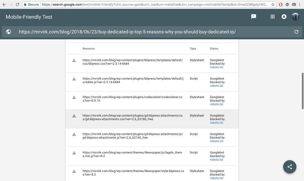 google mobile-friendly test page loading info error