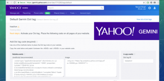 implement yahoo gemini dot tag