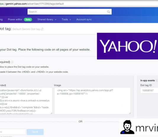 implement yahoo gemini dot tag