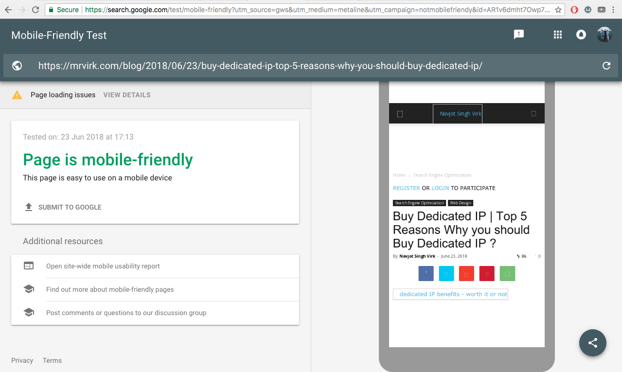 page is mobile-friendly google