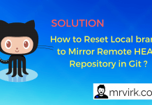 How to Reset Local branch to Mirror Remote HEAD Repository in Git ?