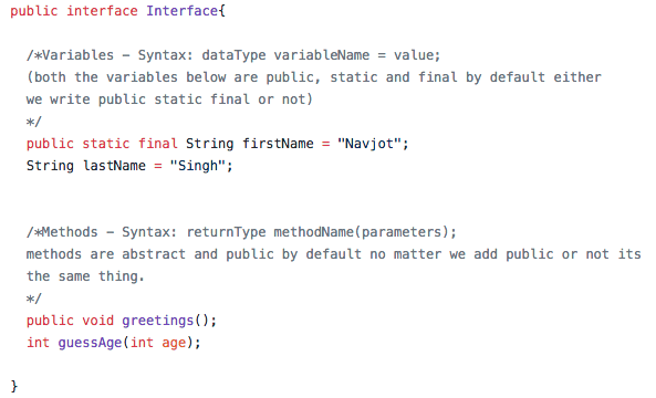 java interface coded example