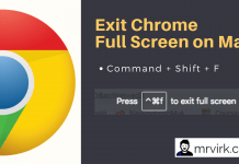 Exit Chrome Full Screen on Mac