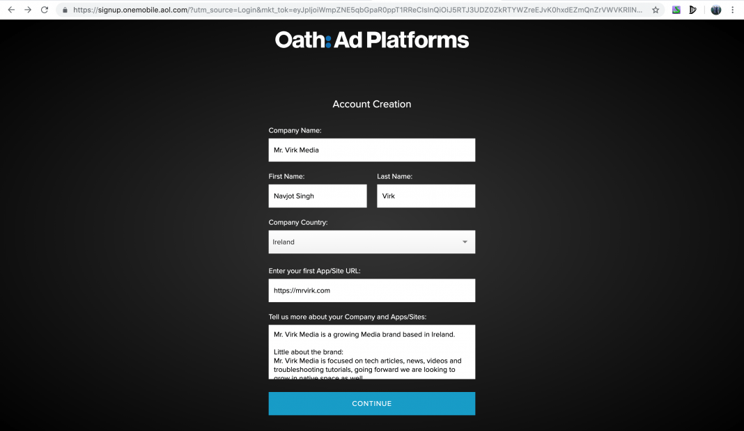Fill company information Getting started on Verizon Media OneMobile SSP - oath ad platforms