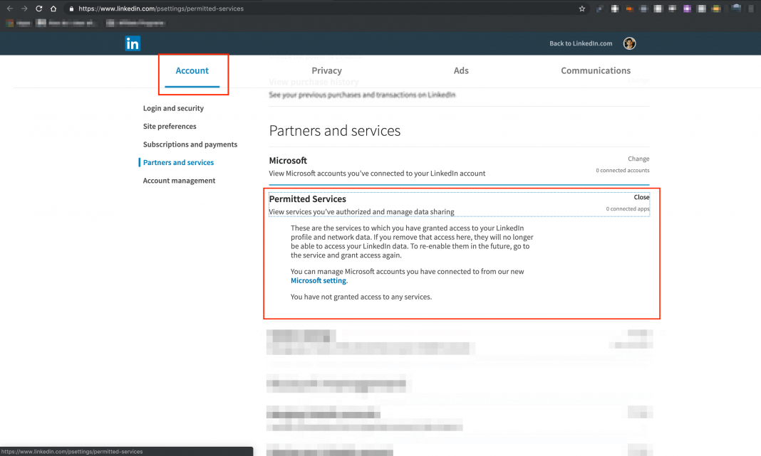 Remove Third Party Applications connected to your LinkedIn Profile