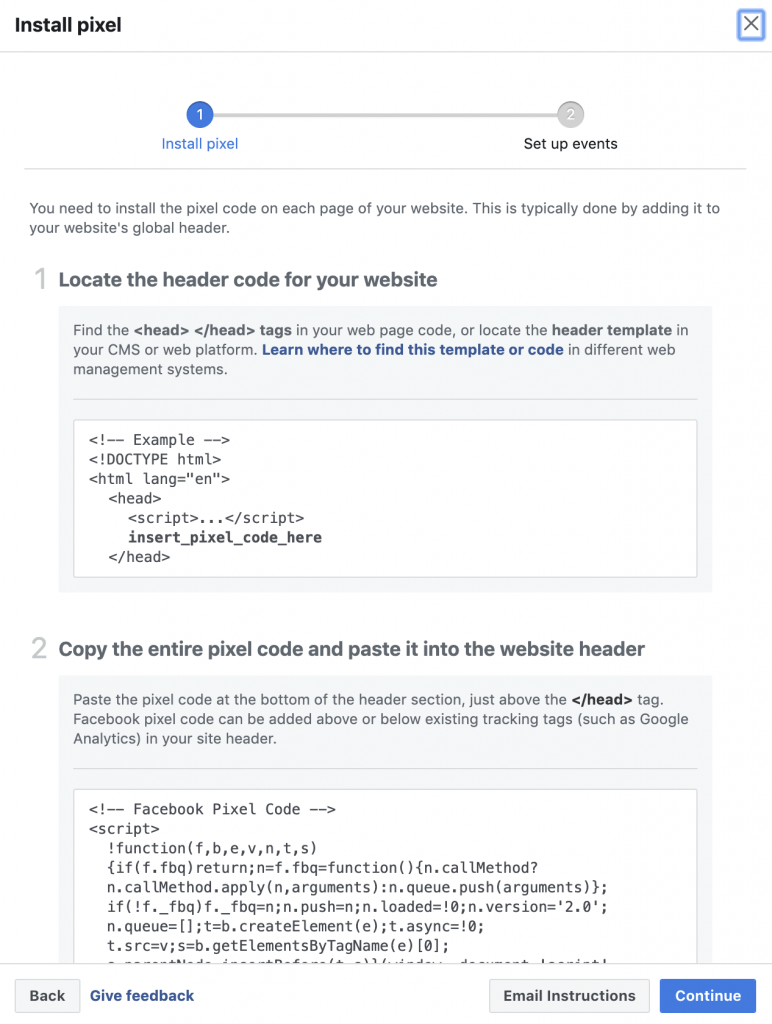 copying facebook pixel and then adding it in head tag of your website