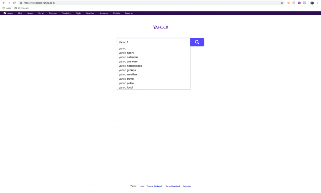 Yahoo Search Homepage in 2019