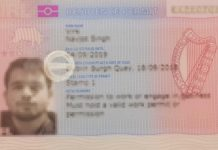 IRP Card Front Example - Irish Residence Permit