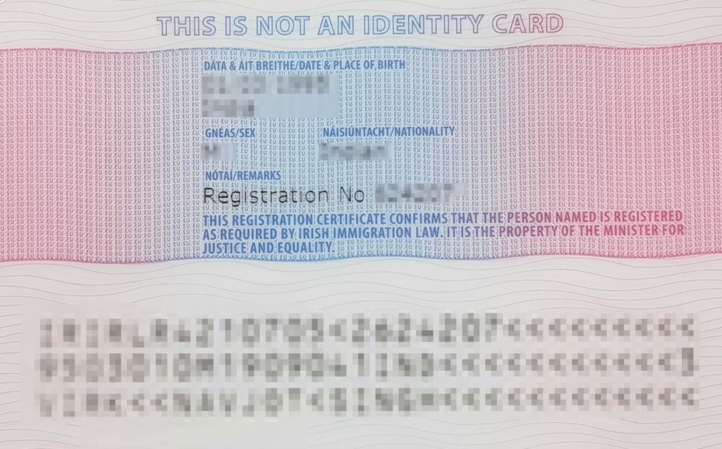 IRP Card Rear Example - Irish Residence Permit