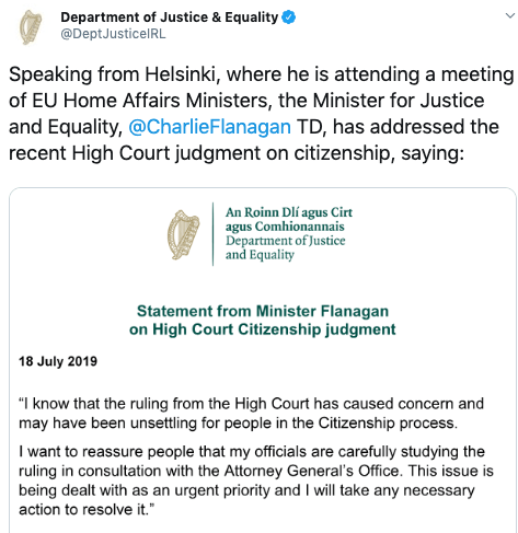 department of justice and equality tweet's screenshot on irish citizenship high court judgement