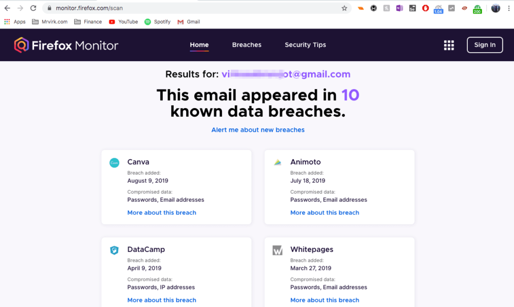 Firefox Monitor - You can track if your account was hacked or security was compromised protecting yourself online